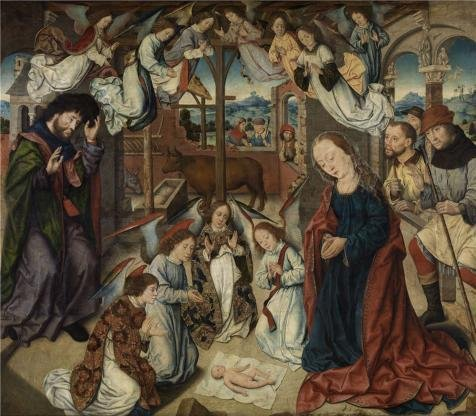 Oil Painting 'Adoration Of The Shepherds By Aelbert Bouts', 24 x 27 inch / 61 x 70 cm , on High Definition HD canvas prints is for Gifts And Gym, Kids Room And Laundry Room Decoration