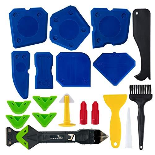 Caulking 20 Tool Kit Caulk Finishing -20 in 1 Silicone Caulking Tools Caulk Finishing Silicone Sealant Scraper tool…