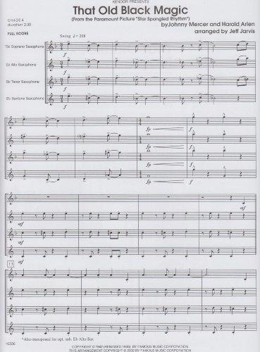 That Old Black Magic for Saxophone Quartet by Johnny Mercer (Saxophone Quartet Music)