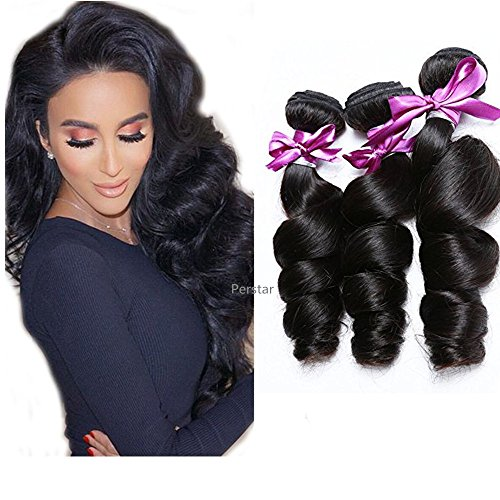 Loose Body Wave Weave - Perstar Loose Wave Bundles Human Hair 3 Bundles Brazilian Remy Virgin Hair Extensions 8A Uprocessed Loose Wave Natural Color(12 14 16)