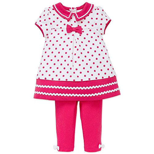 Little Me Girls Polka Dot Tunic Dress Legging Pants Outfit 2pcSet Raspberry ()