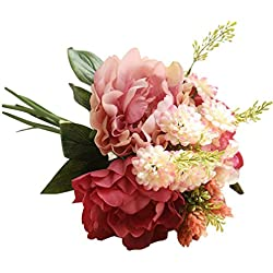 YJYdada Artificial Silk Fake Flowers Peony Floral Wedding Bouquet Bridal Hydrangea Decor (E)