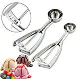 Cookie Scoop Set, Ice Cream Scoops, 2PCS Cookie Scoops Include Small and Medium Size Balls, Selected 18/8 Stainless Steel