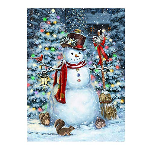 Winter Snowman Christmas Tree Funny Animal Double Sided House Flag Garden Banner 28″ x 40″, Squirrel Rabbit Snow Snowflakes Garden Flags for Anniversary Yard Outdoor Decoration For Sale