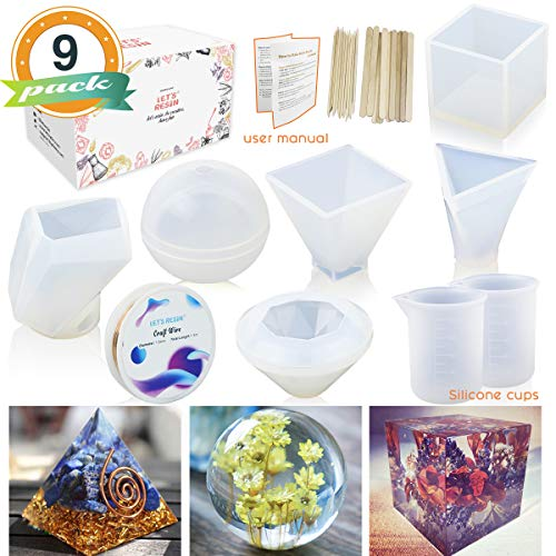 6 Pack Resin Molds LET'S RESIN Large Clear DIY Silicone Molds for Resin, Soap, Wax etc, Epoxy Resin Mold Including Cube, Pyramid,Sphere,Diamond, Stone Resin Mold,Resin Casting Molds w/Measuring Cups ()