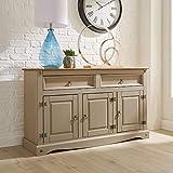 Home Source Corona Grey Sideboard 2 Drawer 3 Door Cupboard Solid Mexican Pine Wooden Cabinet