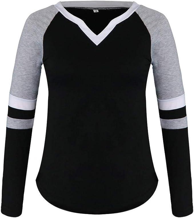 Plus Size S-5XL Women V-neck Casual Tops T Shirt Blouse Long Sleeve Basic Tee