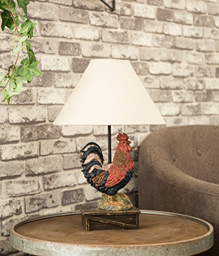 Glitzhome 19.69''H Table Lamp-Farmhouse Rooster Novelty Design with Burlap Shade Neutral Lampshade & Soft,Ambient Lighting Perfect for Living Room,Office