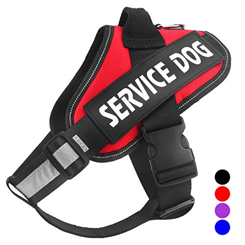 Bolux Service Dog Harness, Easy On and Off Pet Vest Harness - 3M Reflective Anti Pulling Tugging Choking Pet Halters with Nylon Handle for Small Medium Large - Big Easy Vest