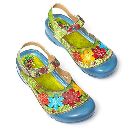 gracosy Women Leather Sandals, Summer Flat Slippers Colorful Flower Slip-on Loafers Comfort Outdoor Mule Clogs Shoes Green-c 9 M US
