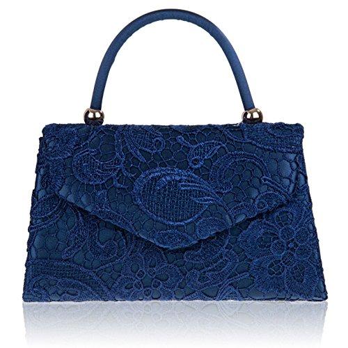 dentelle sac Pochette pour de Londres UK femmes Motif Mesdames mariée bleu main xardi soir Manche à floral marine satin AFBwfqAXx