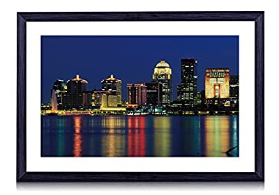 Louisville Skyline Kentucky - Art Print Black Wood Framed Wall Art Picture 20x14 inches Framed