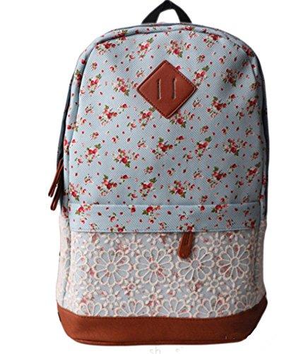 Backpack Denim Unisex Vintage Travel Minetom Fashionable Ladies Style Pink Floral School Canvas wvHvCq5
