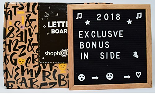 Letter Board Black Felt 10x10 inches 340 White Words Numbers & Symbols - Changeable Wooden Custom Message Sign Boards Oak Frame with Wood Easel Wall Mount Scissors Plastic Organizer & Canvas Bag