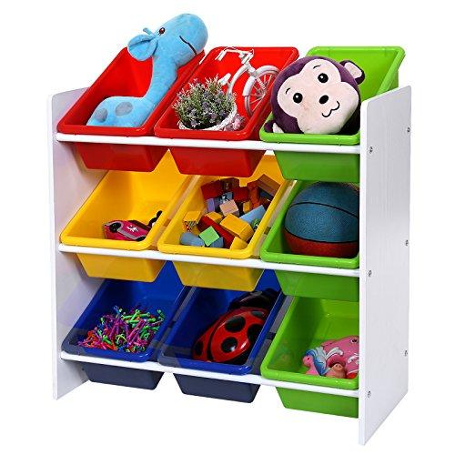 Songmics Kinderregal 9 Boxen mit 4 Farbigen Natur Weiß Kindermöbel für Spiegelzeug GKR01W