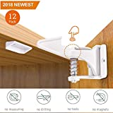 Cabinet Locks Child Safety Latches, INVISIBLE DESIGN, Quick and Easy Adhesive (3M) NO TOOLS, Child Safety, Cabinet Locks,12 Pack!