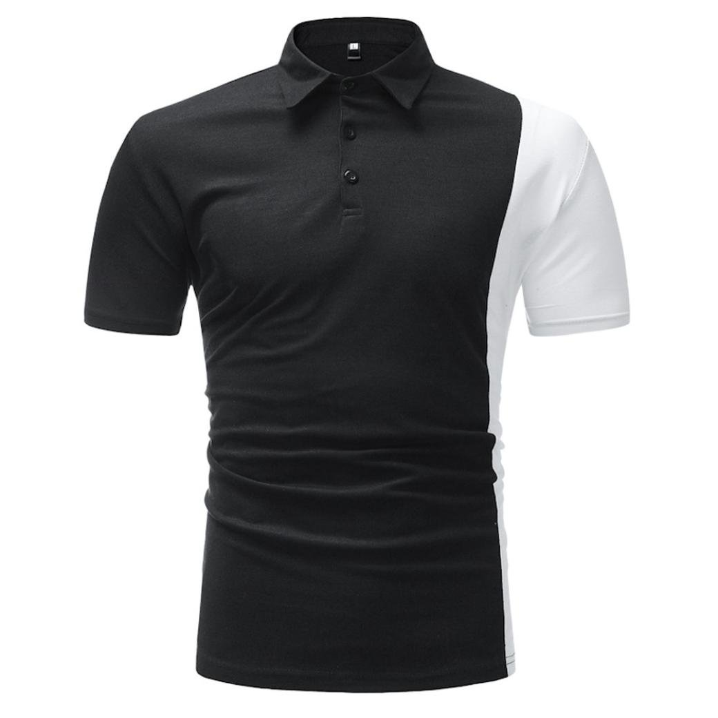 NREALY Business Mens Slim Fit Shirt Short-Sleeve Polo Blouse Top Patchwork Tee