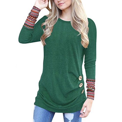 Vert Mme T Rond Shirt Top Dcoration Aiweijia Lache A1 Col Chemise Bouton Chemisier PqawRdW