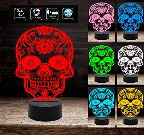 Lampada a led 7 colori selezionabili TESCHIO MESSICANO Tatoo tribale Idea regalo originale a batteria + cavo micro USB da tavolo o scrivania Decorazione della casa Night Light