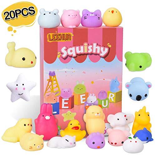 LEEHUR Mochi Squishy Toys Party Favors for Kids Random 20Pcs Kawaii Soft Mini Moj Moj Squishies Pack Adults Squeezing Stress Anxiety Relief Toys School Prizes Box Packaged
