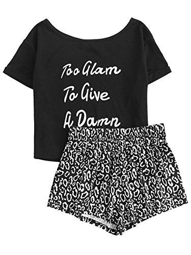 DIDK Women's Cute Cartoon Print Tee and Shorts Pajama Set Black Letter -