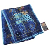 Laurel Burch Scarves, Indigo Cats with Sequins