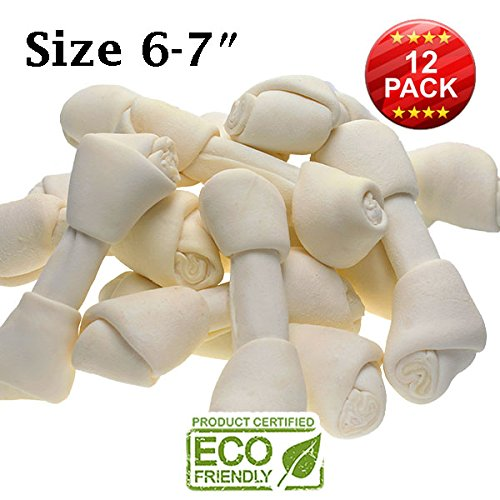 6-7' Premium Dog Bones –Chewing Dog Treat Made With The Best Rawhide 100% Natural - No Additives, Chemicals or Hormones – Natural Grass Fed in South America - USDA/FDA Approved