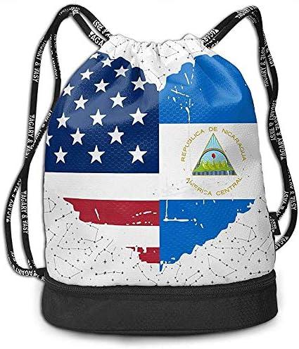 jenny-shop Nicaragua USA Flagge Herz Kordelzug Multifunktionale String Rucksack Benutzerdefinierte Cinch Rucksack Rucksack Sporttasche