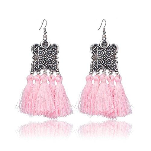 Elogoog Women's Girls Elegant Jewelery Bohemia Ethnic Fan-Shape Fringe Tassels Dangle Stud Earrings Eardrop Necklace Rope Earrings (Pink (Shield)) (Drop Rope Earrings)