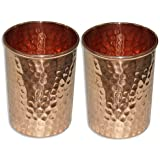 Zafos Pure Copper Glass Tumbler, Set of 2, 300 ML for Storage and Drinking Purpose