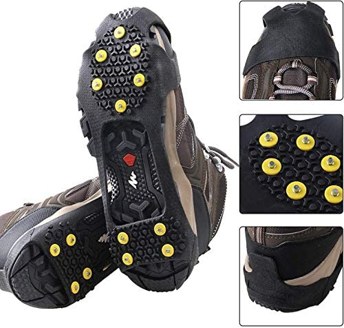 FUSIGO Ice Snow Traction Cleats, 10-Studs Walk Traction Cleats Crampons for Shoes and Boots Slip-on Stretch Footwear for Men Women Walking on Snow and Ice