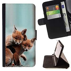 Momo Phone Case / Flip Funda de Cuero Case Cover - Lindos del bebé Fox Amigos - Apple Iphone 6 PLUS 5.5