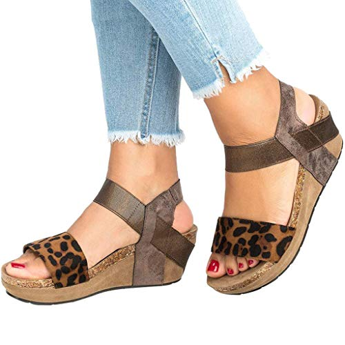 Amlaiworld Women Summer Sandals Shoes Leopard Open Toe Strappy Wedge Leather Platform Shoes Roman Sandals Khaki