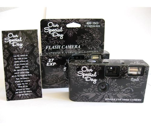 10 Pack Black Lace Wedding Party Disposable Cameras with Gift Box and Matching Tents, 27 Exp.
