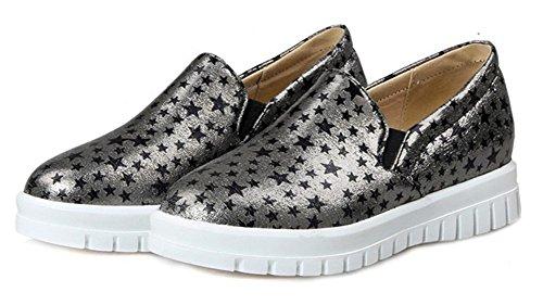 Aisun Donna Trendy Casual Star Low Cut Punta Tonda Elastica Suola Spessa Slip On Sneakers Platform In Mocassino Skate Flats Scarpe Grigie