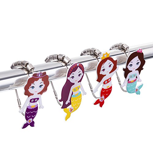 Mermaid Shower Curtain Hooks Unique Design Rustproof and Glide Smoothly Set of 12 (12)