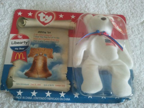 Libearty Bear (McDonalds TY Beanie Babies Libearty Teddy Bear Stuffed Animal Plush Toy - 5 inches tall - American flag on chest by Smartbuy)