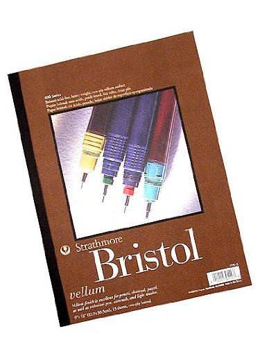 Strathmore 476-12-1 400 Artist Quality Bristol Drawing Board with Hot Press Plate Finish, Acid-Free, 2-Ply Thickness, 22
