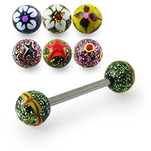 14Gx5/8 (1.6x16MM) 316L Surgical Steel Straight Barbell with 6MM Colorful Hand Painted Glitters Flowers Ball Tongue Piercing Rings - 5 Pieces Assorted Color as - Flower Nose Hand Painted