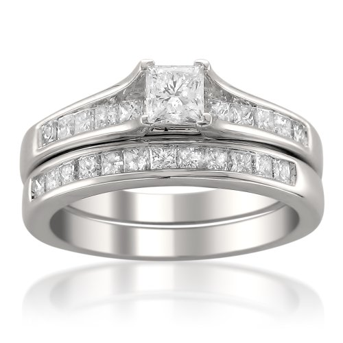 La4ve Diamonds 14k White Gold Princess-cut Diamond Engagement Bridal Set Wedding Ring (1 1/2 cttw, H-I, I1), Size 8