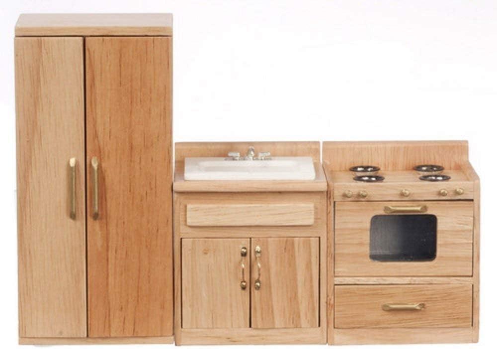 Melody Jane Dolls Houses House Miniature 1:12 Oak Kitchen Furniture Set Sink Cooker Fridge Freezer