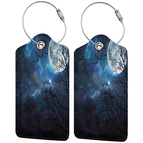 Halloween Luggage Tags for Men Bats Flying in Night Sky Travel accessories 1 packs