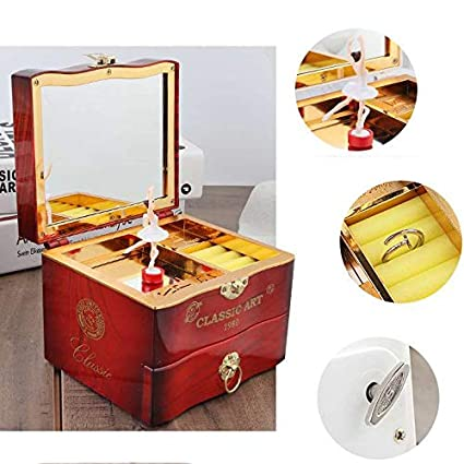 Swan Lake brown FYBlossom Kids Musical Jewelry Box for Girls with Drawer and Jewelry Set with Ballerina Theme