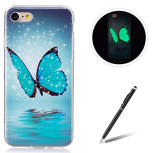 Feeltech iPhone 7/8 4.7 TPU Silicone Case, Luminous Effect Noctilucent Green Glow Ultra Slim Soft Rubber Shell for iPhone 7/8 4.7 Stylish Unique Design-Blue Crystal Butterfly