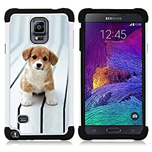 BullDog Case - FOR/Samsung Galaxy Note 4 SM-N910 N910 / - / WHITE BIG PUPPY EYES BROWN ADORABLE CUT /- H??brido Heavy Duty caja del tel??fono protector din??mico - silicona suave