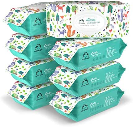 Amazon Brand - Mama Bear Gentle Fragrance-Free Baby Wipes, Hypoallergenic, 800 Count, 100 Count (Pack Of 8)