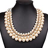 Shownecklace Women¡¯s Graceful Faux Pearl Clavicle Statement Necklace For Party