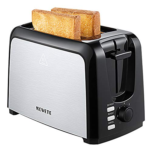 Buy Bargain 2-Slice Toaster, NOVETE Extra-Wide Slot Toaster with Defrost, Reheat and Cancel Function...