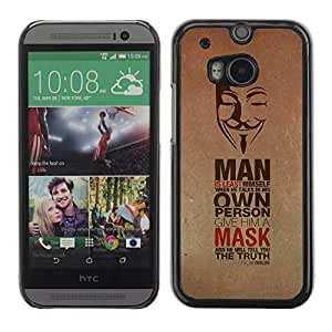 A-type Colorful Printed Hard Protective Back Case Cover Shell Skin for All New HTC One (M8) ( Anonymous Mask & Message )