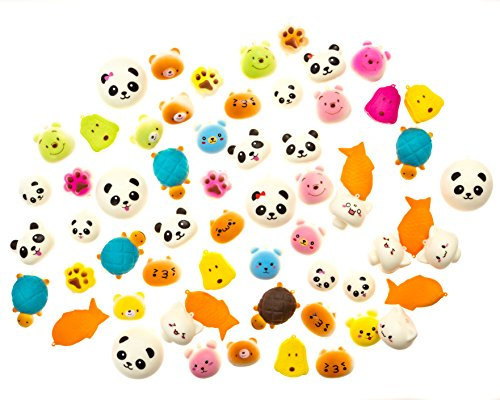 Kawaii Squishies Animals (12-Pack) Slow Rising, Cute, Assorted | Soft Japanese Kid's Anime Toys | Bear, Dog, Kitten, Turtle, Panda, Cat, Fish | Phone & Keychain Charms (Cute Anime Animal Kawaii)